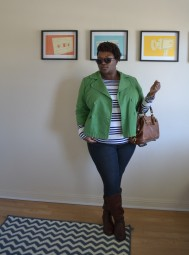 Jacket: INC; Top: Old Navy; Jeans: Forever 21; Boots: Duo; Handbag: Coach